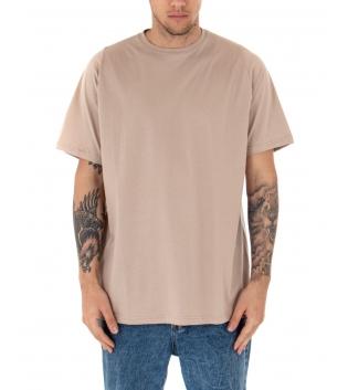 T-Shirt Uomo Oversize Tinta Unita Beige Maglia Maniche Corte Girocollo Cotone GIOSAL-Beige-TAGLIA UNICA