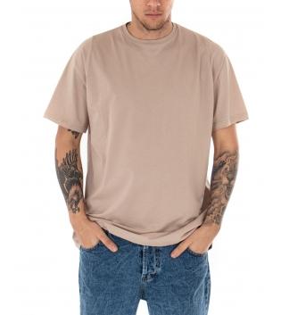 T-Shirt Uomo Oversize Tinta Unita Beige Maglia Maniche Corte Girocollo Cotone GIOSAL
