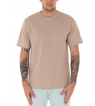 T-Shirt Uomo Beige Maglia Maniche Corte Girocollo Tinta Unita Spacchi Laterali Casual GIOSAL-Beige-S