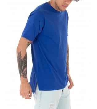 T-Shirt Uomo Blu Royal Maglia Maniche Corte Girocollo Tinta Unita Spacchi Laterali Casual GIOSAL