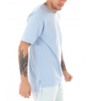 T-Shirt Uomo Polvere Maglia Maniche Corte Girocollo Tinta Unita Spacchi Laterali Casual GIOSAL
