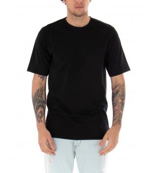 T-Shirt Uomo Nera Maglia Maniche Corte Girocollo Tinta Unita Spacchi Laterali Casual GIOSAL