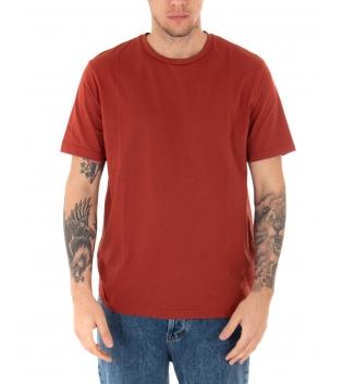 T-shirt Uomo Maniche Corte Tinta Unita Mattone Casual Girocollo GIOSAL