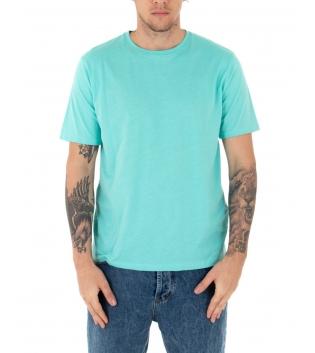 T-shirt Uomo Maniche Corte Tinta Unita Verde Acqua Casual Girocollo GIOSAL