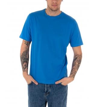 T-shirt Uomo Maniche Corte Tinta Unita Blu Royal Casual Girocollo GIOSAL