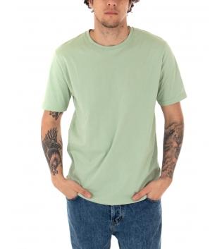 T-shirt Uomo Maniche Corte Tinta Unita Verde Chiaro Casual Girocollo GIOSAL