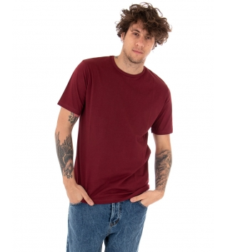 T-shirt Uomo Maniche Corte Tinta Unita Bordeaux Casual Girocollo GIOSAL