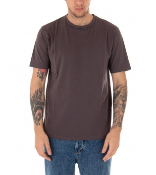 T-shirt Uomo Maniche Corte Tinta Unita Fango Casual Girocollo GIOSAL