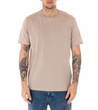 T-shirt Uomo Maniche Corte Tinta Unita Beige Casual Girocollo GIOSAL-Beige-S