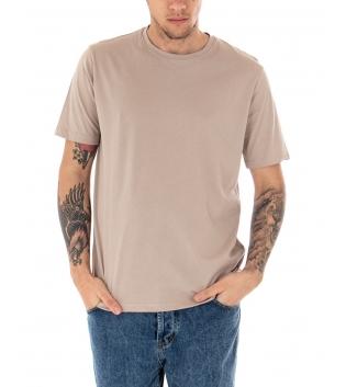 T-shirt Uomo Maniche Corte Tinta Unita Beige Casual Girocollo GIOSAL