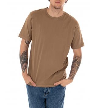 T-shirt Uomo Maniche Corte Tinta Unita Camel Casual Girocollo GIOSAL