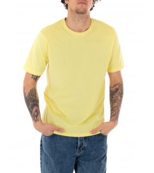 T-shirt Uomo Maniche Corte Tinta Unita Gialla Casual Girocollo GIOSAL
