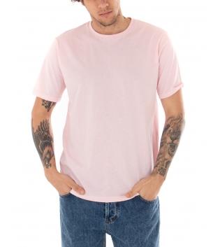 T-shirt Uomo Maniche Corte Tinta Unita Rosa Casual Girocollo GIOSAL