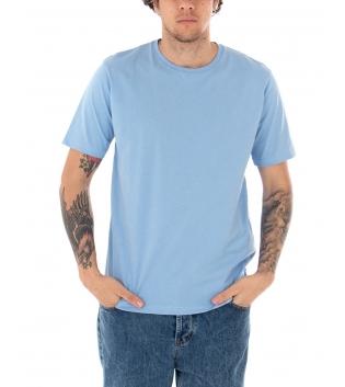T-shirt Uomo Maniche Corte Tinta Unita Polvere Casual Girocollo GIOSAL