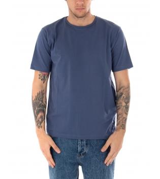 T-shirt Uomo Maniche Corte Tinta Unita Blu Casual Girocollo GIOSAL