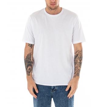 T-shirt Uomo Maniche Corte Tinta Unita Bianca Casual Girocollo GIOSAL