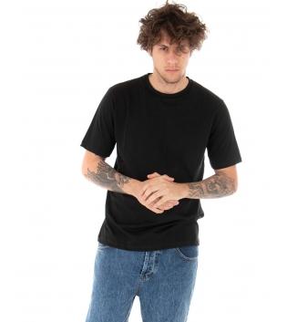 T-shirt Uomo Maniche Corte Tinta Unita Nera Casual Girocollo GIOSAL