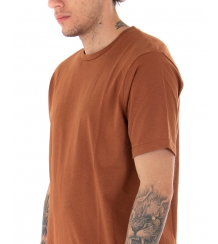 T-shirt Uomo Maniche Corte Tinta Unita Ruggine Casual Girocollo GIOSAL