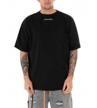 T-shirt Uomo Minimal Couture Oversize Stampa Tinta Unita Nero Casual Girocollo Cotone GIOSAL