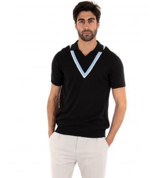 Polo Uomo T-shirt Maniche Corte Scollo a V Colletto Nera Casual GIOSAL