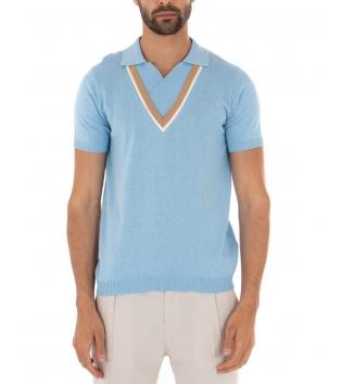 Polo Uomo T-shirt Maniche Corte Scollo a V Colletto Celeste Casual GIOSAL