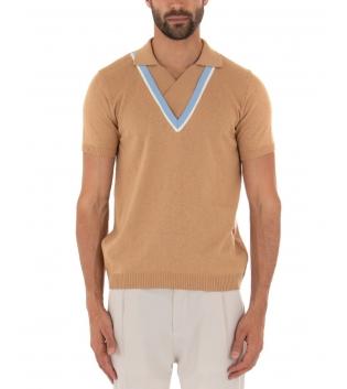 Polo Uomo T-shirt Maniche Corte Scollo a V Colletto Camel Casual GIOSAL
