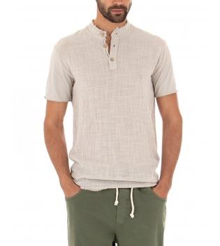 T-shirt Uomo Tinta Unita Beige Maniche Corte Colletto Bottoni Cotone GIOSAL-Beige-S