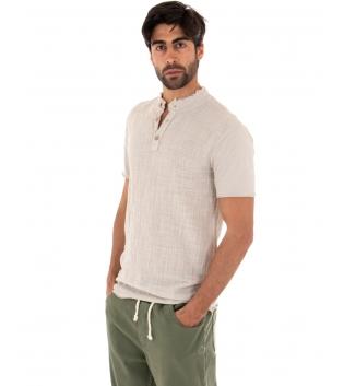 T-shirt Uomo Tinta Unita Beige Maniche Corte Colletto Bottoni Cotone GIOSAL