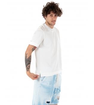 T-Shirt Uomo Maglietta Bianca Tinta Unita Risvolti Maniche Corte Casual Basic GIOSAL