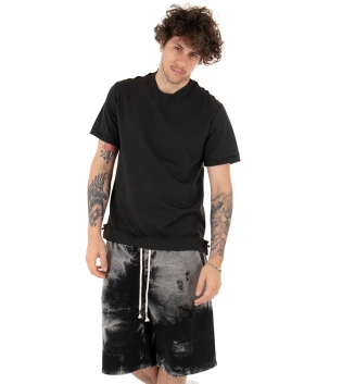 T-Shirt Uomo Maglietta Nero Tinta Unita Risvolti Maniche Corte Casual Basic GIOSAL