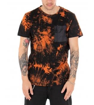 T-shirt Uomo Tie Dye Multicolore Arancione Maniche Corte Taschino Girocollo GIOSAL