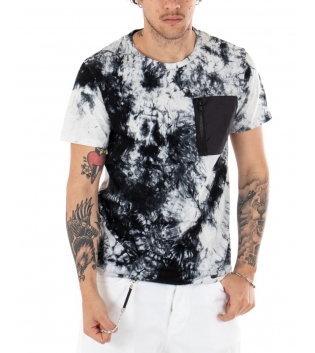 T-shirt Uomo Tie Dye Multicolore Bianco Maniche Corte Taschino Girocollo GIOSAL