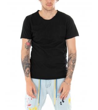 T-shirt Uomo Maniche Corte Tinta Unita Nera Girocollo Basic GIOSAL