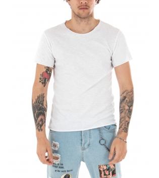 T-shirt Uomo Maniche Corte Tinta Unita Bianca Girocollo Basic GIOSAL