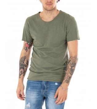 T-shirt Uomo Maniche Corte Tinta Unita Verde Girocollo Basic GIOSAL-Verde-S