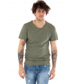 T-shirt Uomo Maniche Corte Tinta Unita Verde Girocollo Basic GIOSAL