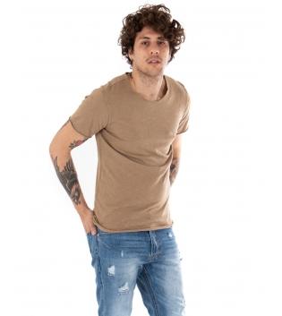 T-shirt Uomo Maniche Corte Tinta Unita Camel Girocollo Basic GIOSAL