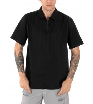 T-shirt Uomo Maniche Corte Cerniera Collo Tinta Unita Nera GIOSAL