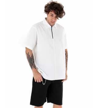 T-shirt Uomo Maniche Corte Cerniera Collo Tinta Unita Bianca GIOSAL