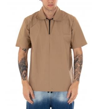 T-shirt Uomo Maniche Corte Cerniera Collo Tinta Unita Camel GIOSAL