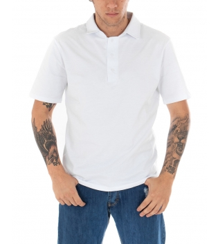 T-shirt Polo Uomo Tinta Unita Bianca Colletto Bottoni Basic Maniche Corte Cotone GIOSAL