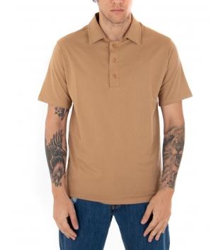 T-shirt Polo Uomo Tinta Unita Camel Colletto Bottoni Basic Maniche Corte Cotone GIOSAL