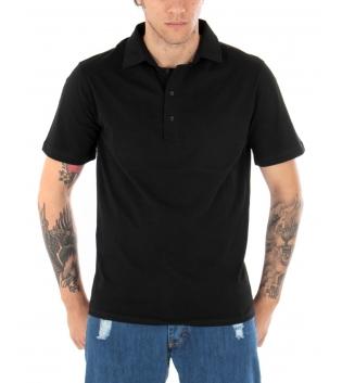 T-shirt Polo Uomo Tinta Unita Nera Colletto Bottoni Basic Maniche Corte Cotone GIOSAL