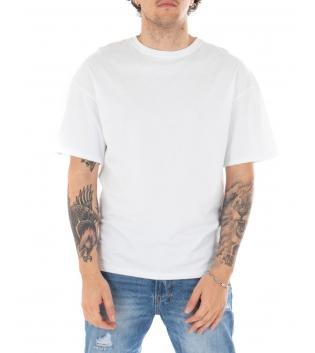 T-shirt Uomo Maniche Corete Stampa Retro Bianca Girocollo Casual GIOSAL