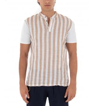 T-shirt Uomo Rigata Maniche Corte Collo Coreano Beige Casual GIOSAL-Beige-S