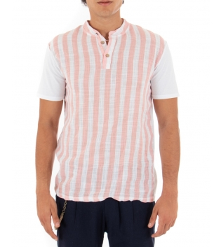 T-shirt Uomo Rigata Maniche Corte Collo Coreano Rosa Casual GIOSAL