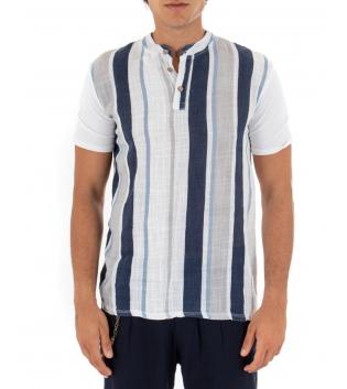 T-shirt Uomo Rigata Maniche Corte Collo Coreano Blu Casual GIOSAL