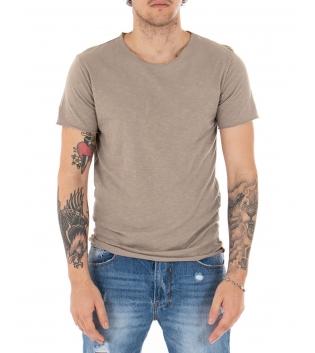 T-shirt Uomo Maniche Corte Tinta Unita Fango Girocollo Basic GIOSAL