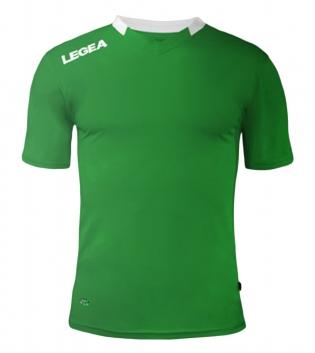 Maglia Sport Calcio LEGEA Monaco Manica Corta Tinta Unita Abbigliamento Sportivo GIOSAL-Verde-Bianco-XS