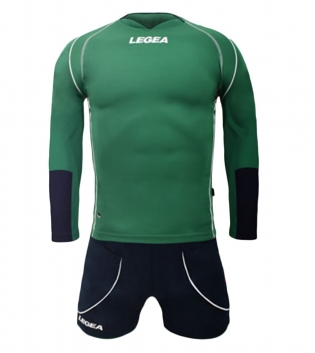 Kit Uomo Calcio LEGEA Lione Completino Calcetto Squadra Abbigliamento Sport GIOSAL-Verde-Blu-S